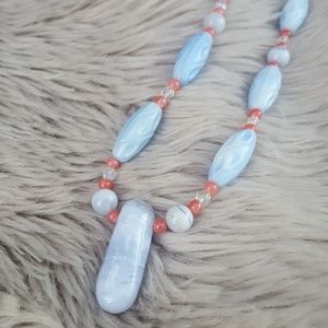 Jewelry - Coral and blue glass beaded necklace